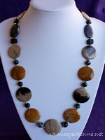 Collier  Corail Fossile, Jaspe Bois, Agate