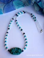 Collier Turquoise, Quartz, Chrysocolle, Jaspe Bleu d�di� aux �nergies de Y�manja, d�esse de la mer, protectrice des femmes