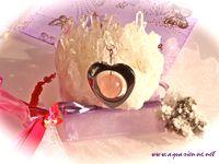 Pendentif coeur hematite et quartz rose tendresse collection Atout Coeur