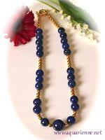 collier lapis-lazuli et or plaqué, pièce unique, créations Aquarienne